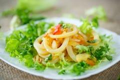 Warm salad with fried calamari Royalty Free Stock Photos