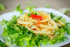 Warm salad with fried calamari Royalty Free Stock Photo
