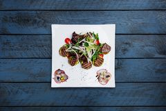 Warm salad with grilled veal, mix vegetables and apple sauce. royalty free stock photo