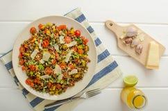Warm salad of lentils, bio healthy Stock Image