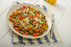 Warm salad of lentils, bio healthy Royalty Free Stock Image