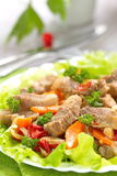 Warm salad with meat and vegetables Royalty Free Stock Photography