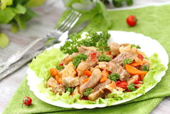 Warm salad with meat and vegetables Royalty Free Stock Image