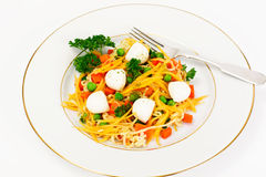 Warm Salad of Noodles, Pumpkin, Carrots, Peas with Cherry Tomato Stock Images