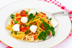 Warm Salad of Noodles, Pumpkin, Carrots, Peas with Cherry Tomato Stock Photography