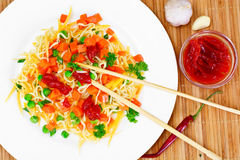 Warm Salad of Pasta with Pumpkin, Carrots, Peas and Cherry Tomat Stock Photos