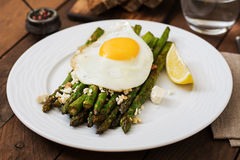 Warm salad of roasted asparagus, feta cheese. Royalty Free Stock Photography