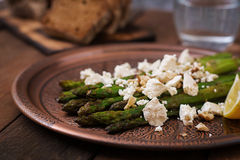 Warm salad of roasted asparagus, feta cheese. Stock Photography