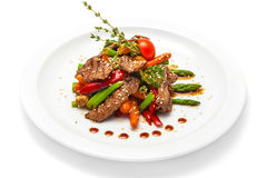 Warm salad of veal and vegetables Royalty Free Stock Photo