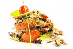 Warm salad of vegetables and meat Royalty Free Stock Images