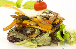 Warm salad of vegetables and meat Stock Photo