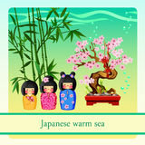Warm sea with elements of Japanese culture Royalty Free Stock Photography