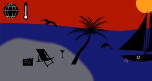 Warm Sea, Sun, Beach, Vacation. Vector Royalty Free Stock Image