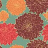 Warm seamless floral vintage japanese blue-orange pattern Royalty Free Stock Images
