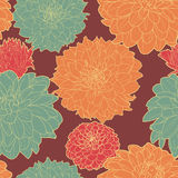 Warm seamless floral vintage japanese orange-blue pattern Stock Photo