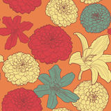 Warm seamless floral vintage japanese orange-red pattern with lily Royalty Free Stock Image