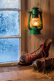 Warm shelter in a cold winter evening Royalty Free Stock Photography
