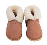 Warm slippers of wool Stock Photo