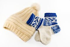 Warm socks and cap Royalty Free Stock Photos