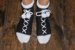 Warm socks for a family Stock Photos