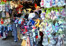 Warm socks. And other goods of the Christmas market stock images