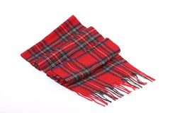 Warm and soft red Tartan Scarves. Isolated on white background Stock Photo