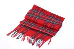 Warm and soft red Tartan Scarves. Isolated on white background Royalty Free Stock Image