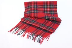 Warm and soft red Tartan Scarves. Isolated on white background Royalty Free Stock Photo