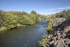 Warm Springs river Eastern Oregon near Kahneeta resor. Stock Photography