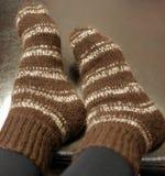 Warm striped socks Stock Photography