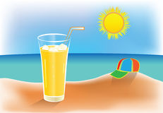 Warm summer day and icy juice Stock Images