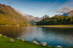 Warm summer evening in the mountains against the backdrop of the lake. Norway. Mountains against the backdrop of the lake. Norway royalty free stock photo