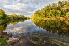 A warm summer evening on the river Sakmara. Orenburzhye stock images