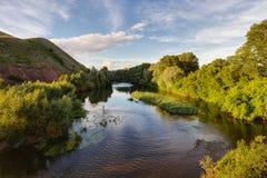 A warm summer evening on the river Sakmara. Orenburzhye royalty free stock photography