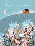 Warm summer night in the village. Cute vector illustration. Hand drawn farm poster design with text. Warm summer night in the village. Cute vector illustration stock illustration