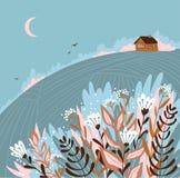 Warm summer night in the village. Cute vector illustration. Hand drawn rustic poster design. Warm summer night in the village. Cute vector illustration. Hand vector illustration