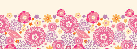 Warm summer plants horizontal seamless pattern Stock Image