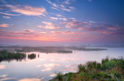 Warm summer sunrise over river Stock Photography