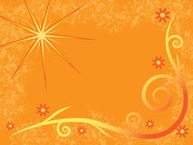 Warm Sun. Background with flourishes, flowers and sun in warm colors Royalty Free Stock Image