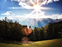 Warm Sun in the mountains. Warm sun in the alps of south tyrol, near Meran Stock Images