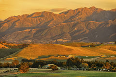 Warm sunrise on the Kaikoura Ranges, New Zealand Royalty Free Stock Photos