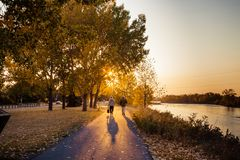 An early morning stroll on a river path stock photo