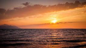 Warm sunset and cloudy sky in southern Croatia Stock Photo