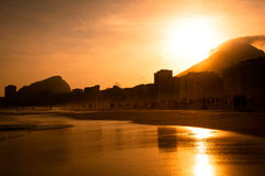 Warm Sunset on Copacabana Beach Royalty Free Stock Image