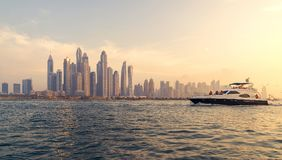 Warm Sunset in Marina, Dubai. stock image
