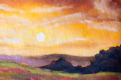 Warm sunset in mountains artistic painting background. Stock Photography