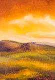 Warm sunset in mountains artistic painting background. Stock Images