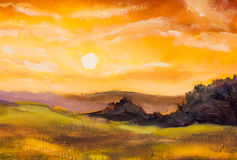 Warm sunset in mountains artistic painting background. Stock Photos