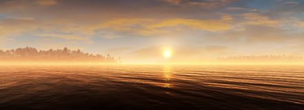 Warm Sunset Panorama Of Tropical Sunset Background. Panoramic view of a warm, relaxing and beautiful tropical sunset environment Stock Photo