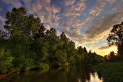 Warm sunset river of Russia Stock Image